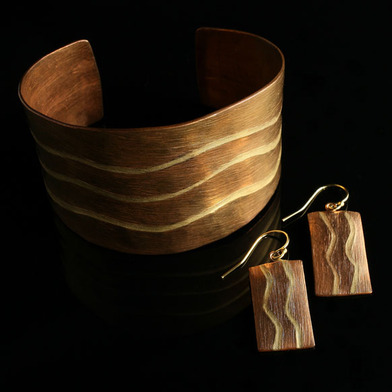 Handcrafted Copper Jewerly Collection - Copper Cuff and Earrings with Bronze Inlay