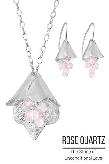 Rose Quartz Necklace and Earrings - Stone of Unconditional Love