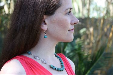 Natural Turquoise Necklace and Earring Set