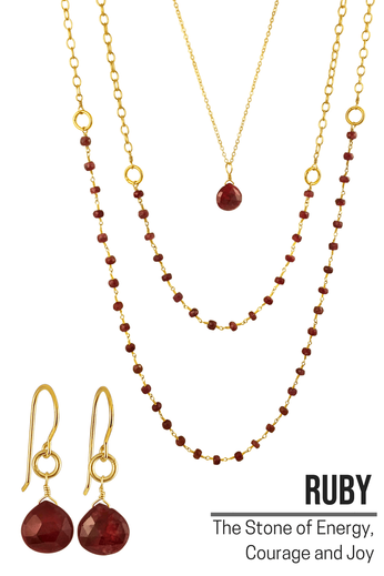 Raw Ruby Jewelry - Ruby Necklace -  Gold Ruby Earrings