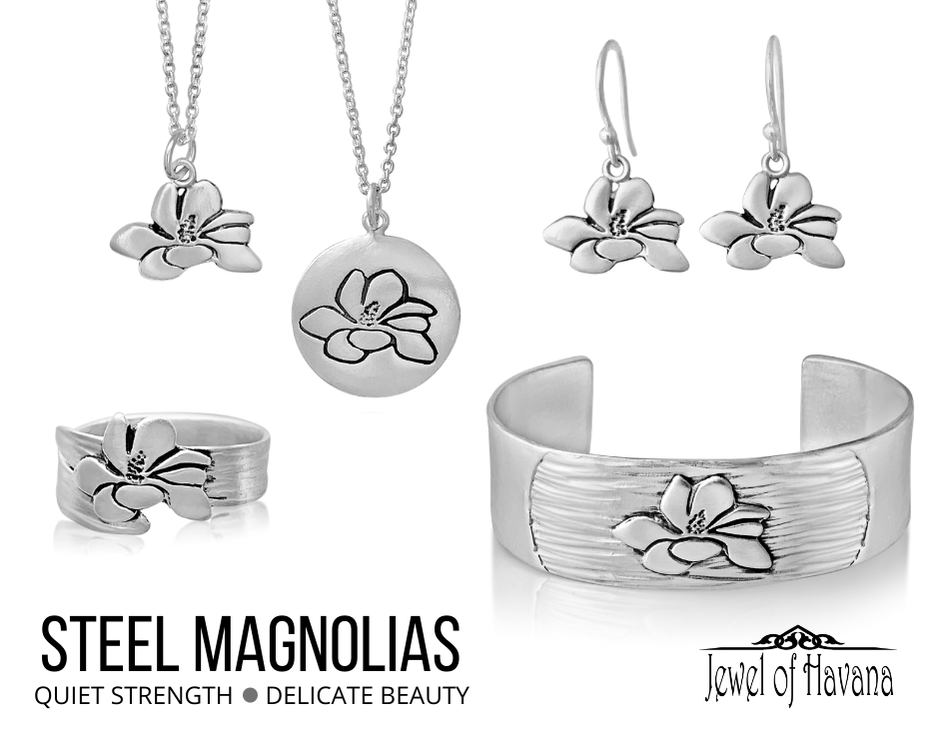 Steel Magnolias Jewelry Collection, cuff bracelet, earrings, rings, necklace